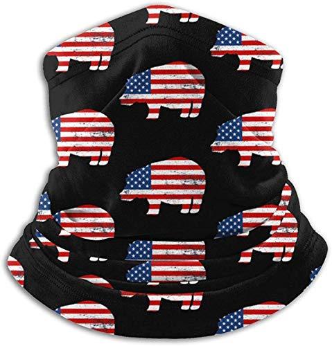 Pao facial para hombres y mujeres, compatible con hipoptamo bandera americana invierno polaina cuello bufanda bufanda bufanda calentador bufanda bufanda bufanda