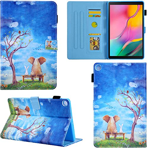 DodoBuy Case for Samsung Galaxy Tab A 10.1 2019 T510/T515,Flip Folio Smart Cover PU Leather Wallet Kickstand with Card/Cash Slots Magnetic Closure - Elephant Rabbit