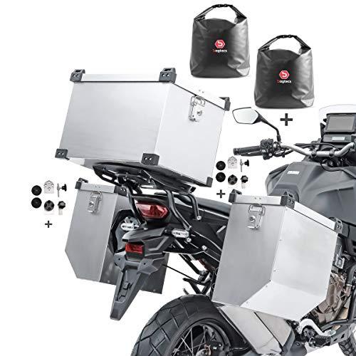 Set Maletas Laterales Aluminio Atlas 2x36l + baul 45l + Bolsas + Kit
