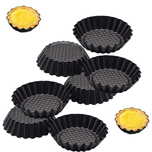 WENTS Stampi per Tortine 7PCS Pirottini in Metallo Diametro 11 Cm per Tortini Tartellette Flan Budini Panna Cotta Muffin e Cupcake Rivestimento Antiaderente
