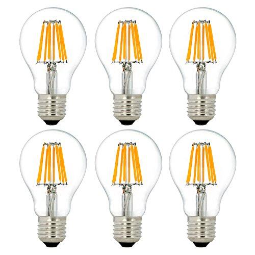 6 Unidades E27 A60 8W LED Bombilla de Filamento, Lámpara de Luz del Hogar, NATIONALMATER Reemplazo de Bombillas Incandescentes de 80w, 750 Lúmenes, Blanco Cálido (2700K) 220-240V