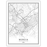 Leinwanddrucke,Einfache Murcia Black White World City Map
