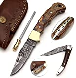BCK Pocket Knife 4 Pcs Set 6.5' Handmade Damascus Folding Knife Back Lock knife Damascus Hunting Knife with Sheath Damascus Pocket Knife for men 100% Prime Quality EDC camping Knife (Wood Handle)
