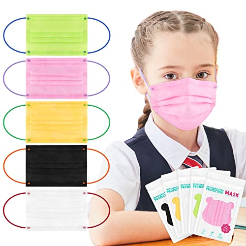 Kids Disposable Face Masks 50pcs for 5-12 Boys Girls Kid Size Colored Child Mask with Soft Color Earloops