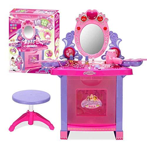 Decoración de muebles Tocadores para niños Juguete para niños Casa de juegos para niñas Tocador Juego de caja de maquillaje de princesa Juegos de mesa y silla para niños (Color: Rosa Tamaño: 43x30x