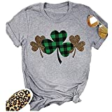 Beopjesk Womens St Patrick's Day Clover T-Shirt Blessed and Lucky Graphic Tees I'm One Lucky Mama Tops (M, A)