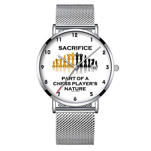 Reloj de Pulsera Minimalista de Cuarzo con Fecha y Banda de Malla 156, Ultra Delgado, Resistente al Agua, Parte de la Naturaleza de un Jugador de ajedrez