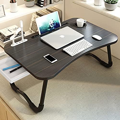 Escritorio Cama con Puerto USB, Bandeja Plegable para Mesa de Cama para computadora portátil, Bandeja Grande para Regazo con cajón y portavasos, Mesa de Trabajo de Estudio para Estudiantes Adultos