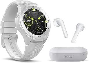 TicWatch Bundle with TicWatch S2 Smartwatch US Military Grade, GPS 5ATM Waterproof - Glacier + TicPods 2 True Wireless Ear...