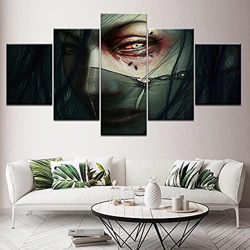 GUANGWEI 5 HD Lienzo sobre Lienzo Ojos De Niña E Insectos Sala De Estar Dormitorio Decoración Creación Murales Y Carteles con Marco 150 × 80 Cm
