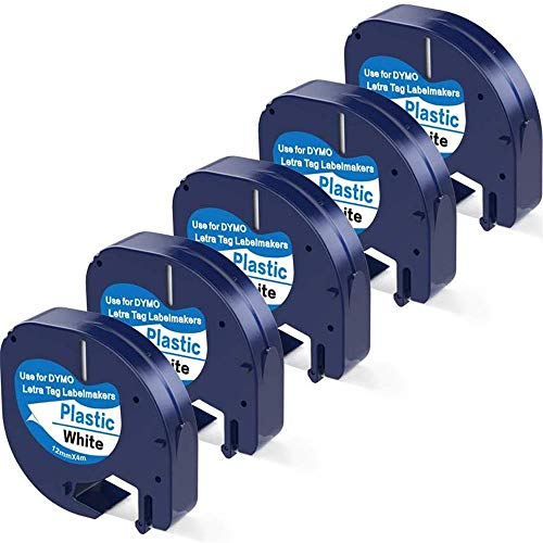 Camopro Compatible Label Tape 5 Pack Replacement for Dymo Letratag Refills Plastic Label Tape 91331 (S0721660), Black on White for DYMO Label Maker LT-100H, LT-100T, LT-110T, QX50, 1/2Inch x 13 Feet