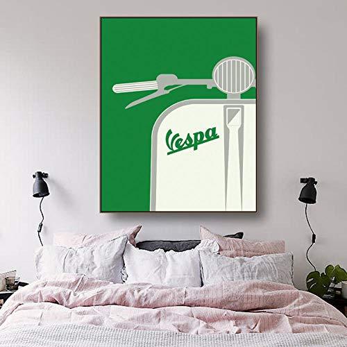 wydlb Grüne Vespa Vintage Poster und Drucke Abstrakte Leinwand Malerei, Kalligraphie Wandkunst Bild Wohnzimmer Schlafzimmer Dekoration 72x90 cm kein Rahmen