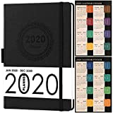 2020 Planner, Weekly/Monthly Planner, Saffiano Leather with Thick Paper, Back Pocket with 88 Notes Pages,...