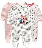 Kiddiezoom Baby-Pyjama, eng-anliegend mit integrierten Schuhen, langarm, Baumwolle, Gr. 62 (0–3M), kleiner Fuchs