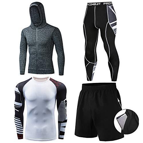 GHQYP Chandals Compresión Hombre,Ropa Gym Chandal Poliester Hombre,Ropa de Entrenamiento de Secado Rápido Traje Deportivo de Baloncesto, Juego de 4 Piezas,Style9,L