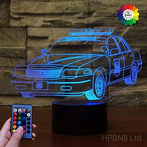 HPBN8 Ltd Kreative Polizei Auto Lampe Nachtlicht 7/16 Farbwechsel Fernbedienung Berühren Schreibtisch-Nacht licht mit USB-Kabel Kinder Weihnachten Geburtstagsgeschenke