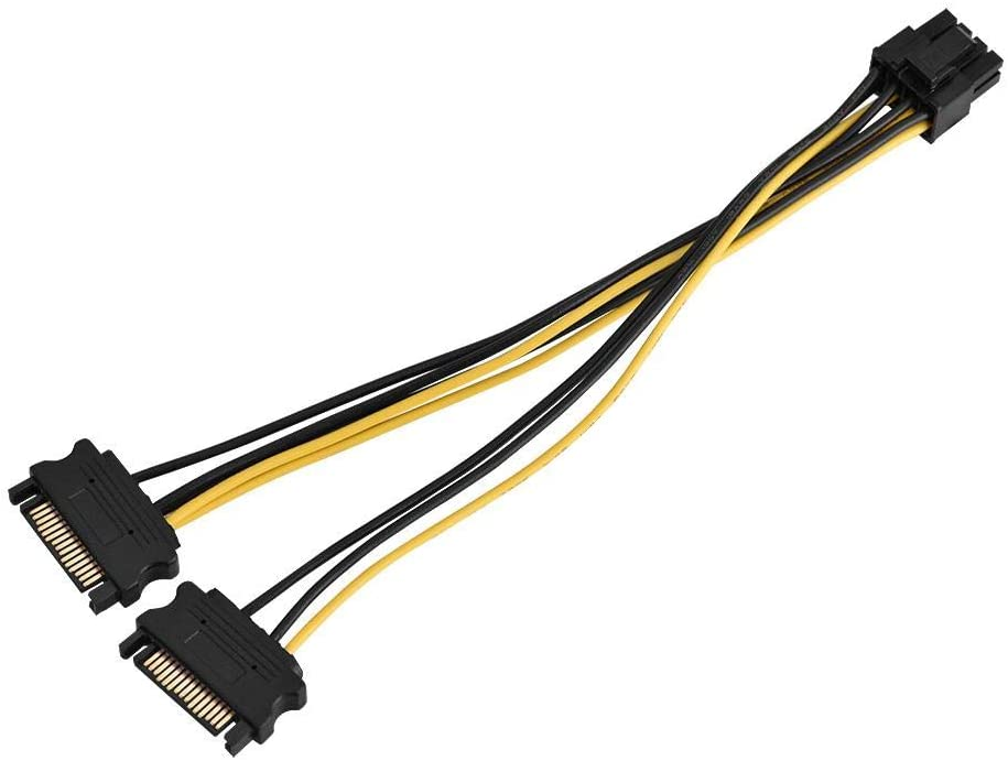 20cm Single SATA Cable Kafuty SATA to PCIE Power Adapter 15-pin SATA Male To 8-pin Female PCI Express Power Supply Adapter Cable