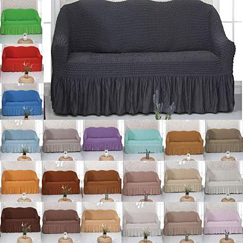 Mixibaby Sofabezug Sofahusse Sesselbezug Sitzbezug Sesselüberwurf Stretchhusse 3 2 1, Farbe:tannengrün, Variante:2-Sitzer-Sofa