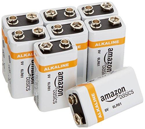 AmazonBasics Everyday Alkalibatterien 600 mAh, 9V, 8 Stück
