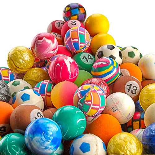 Bouncy Balls in Bulk - Pack of 250 (1inch/27mm) Hi Bounce Ball Variety Assortment Mix, Colorful and Small Rubber Bouncing Balls for Kids Game Prizes, Party Favors and Vending Machines