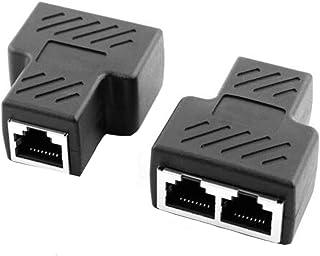 قطعتان كابل إنترنت سبليتر إيثرنت RJ45 كابل مزدوج الموصل سلك شبكة محول منفصل