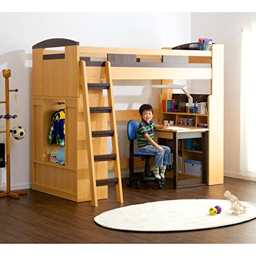 木製ロフトベッドシステムベッドChambre(シャンブル)デスク・ラック・シェルフ付き(ライトブラウン×ブラウン)