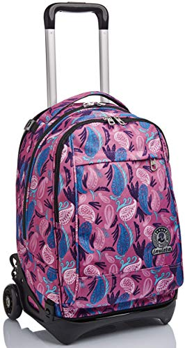 Trolley New Tech Invicta , Paisley, Rosa, 3 in 1 Zaino Sganciabile
