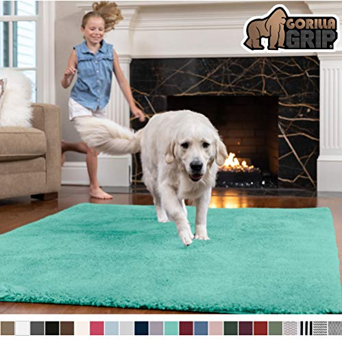 Gorilla Grip Original Faux-Chinchilla Rug, 6x9 Feet, Super Soft and Cozy High Pile Washable Carpet, Modern Rugs for Floor, Luxury Shag Carpets for Home, Nursery, Bed and Living Room, Turquoise