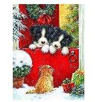 クリスマスと犬の写真数字で描くキャンバスに手描きDIY油絵数字で描くアート家の装飾ギフト40×50cm(フレームなし)