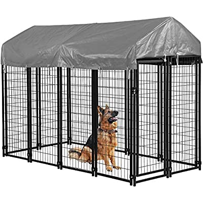 BMS Dog Pen Dog Fence Dog House Playpen Outdoor Camping Large Heavy Duty Dog Crate Kennel Cage with Reversibel Cover,4 x 4 x 4.3/7.5 x 3.75 x 5.8Feet (7.5 x 3.75 x 5.8)