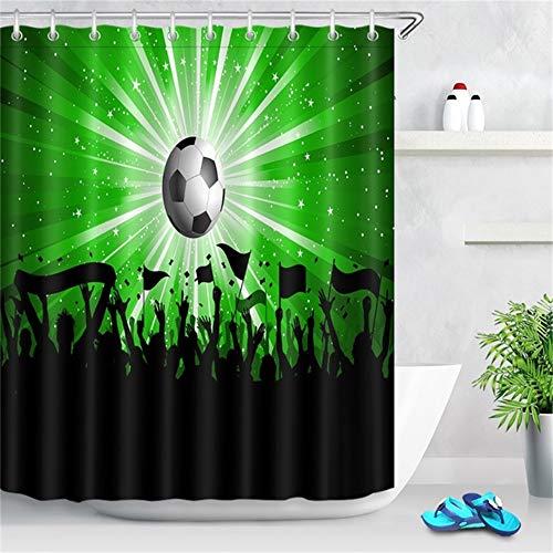 ZLWSSA 3D Wasserdicht Duschvorhang Polyester Schwarz Und Weiß American Soccer Ball Fußball Badezimmer Stoff 180x180cm