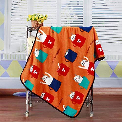 JZWX Nieuwe Thuis Flanellen Dekens Koraal Fleece Kinderdekens Katten Patroon Airconditioners Kleine Dekens Koraal Fleece Cartoon Quilts voor Warmte en Comfort voor Kinderen en Volwassenen