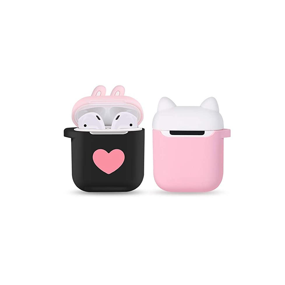 どきどき受け入れたトランザクションXYSMZD ケース、ワイヤレスBluetoothヘッドセット、Airpods 2シリコンソフトケース、防滴、充電ケース、Airpod漫画かわいいヘッドフォン収納バッグ(ピンク) (Color : Pink)