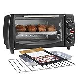 MisterChef® 10 Litre Electric Mini Oven and Grill, 100-250°, 30 min Timer Auto Shut Off, 800W, Black - Free Recipe Book Enclosed - Free 2y Warranty.