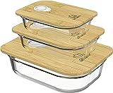 UMAMI Lunch Box En Verre & Bambou, Cadeau Idéal Homme/Femme, Boîte Bento Japonaise Hermétique 1 Étage, Micro-ondes, Four & Lave-vaisselle, Zéro Déchet, Sans BPA