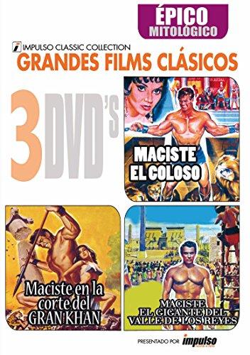 Pack 3 DVDs Maciste el coloso+M en la corte del rey Khan+ El Gigante del Valle de los Reyes