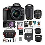 Nikon D3500 DSLR Camera with AF-P 18-55mm and 70-300mm Zoom Lenses Bundle with 64GB Card and Accessories (7 Items)