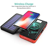 BLAVOR Power Bank, Wireless External Battery, 20000mAh Solar Charger with 5 Removable Solar Panels Portable Qi Charger…