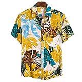 Shirt Herren Kurzarm Basic Mode Vintage Druck Herren Freizeitshirt Regular Fit Knopfleiste...