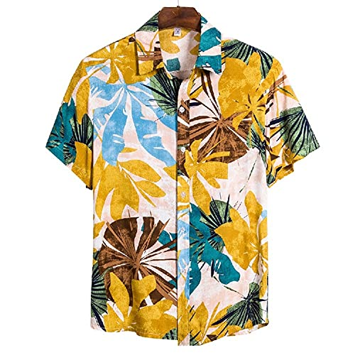 Men Leisure Shirt Regular Fit Vintage Fashion Print Men T-Shirt Breathable Kent Collar Button Placket Short-Sleeved Shirt Vacation Trip Hawaii Men'S Beach Shirt CS122 XXL