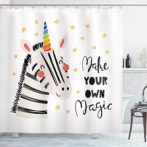 ABAKUHAUS Regenbogen Zebra Duschvorhang, Machen Sie Ihre eigene Magie, Hochwertig mit 12 Haken Set Leicht zu pflegen Farbfest Wasser Bakterie Resistent, 175x180 cm, Koksgraue Multicolor