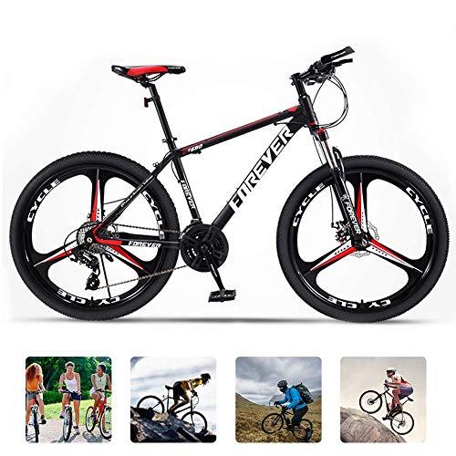 KaiKai Herren Trail Bike Gravel Abenteuer Fahrrad High Carbon Stahl Federgabel 3 Speichenrad Hardtail Mountainbike mit Scheibenbremsen, mehr Farben, Rot, 24 Geschwindigkeit 27,5 Zoll