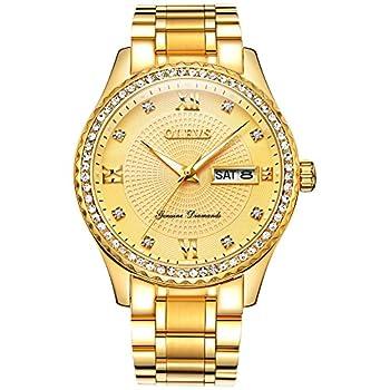 Men Watches Gold Diamond Luxury Watch Stainless Steel Day Date Waterproof Luminous Quartz Analog Men Wristwatch