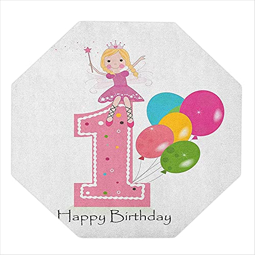 """35"""" Octagon Office Chair Mat, Princess Fairy Party Theme with Best Wishes Pink Wand and Balloons, Chair mats for Carpeted Floors, Pale Pink and Lilac"""