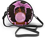 Bolso redondo mujer Girl Blowing Bubbles Women Soft Leather Round Shoulder Bag Zipper Circle Purses Sling Bag