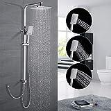 Duschsystem ohne Armatur, WOOHSE Regendusche mit Höhenverstellbare Duschstange und Eckige Duschkopf, Duschset mit Schlauch, Dusche mit 3-Funktionen Handbrause für Badzimmer