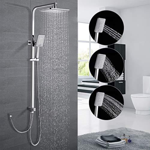 Sistema de ducha sin grifo, ducha de lluvia con barra de ducha regulable en altura y cabezal de ducha angular, juego de ducha con manguera, ducha con 3 funciones para cuarto de baño