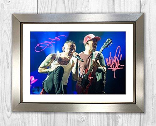 Engravia Digital Linkin Park Chester Bennington & Mike Shinoda Poster Signed Autograph Reproduction Photo A4 Print (Silver Frame)