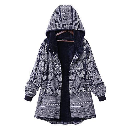YKARITIANNA Womens Pattern Hoody Blouses & Button-Down Shirts Warm Outwear Print Hooded Pockets Vintage Oversize Hasp Coats