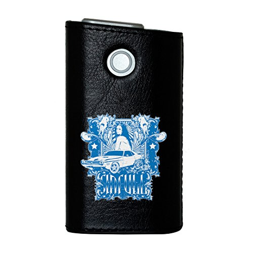 glo グロー グロウ 専用 レザーケース レザーカバー タバコ ケース カバー 合皮 ハードケース カバー 収納 デザイン 革 皮 BLACK ブラック ユニーク 人物 車 イラスト 002704